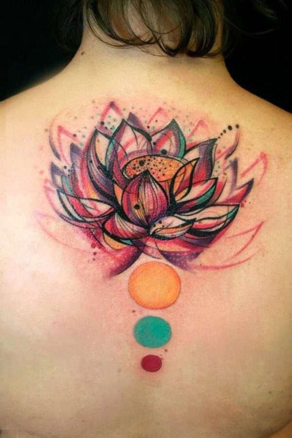 Tatuaje flor de loto multicolor