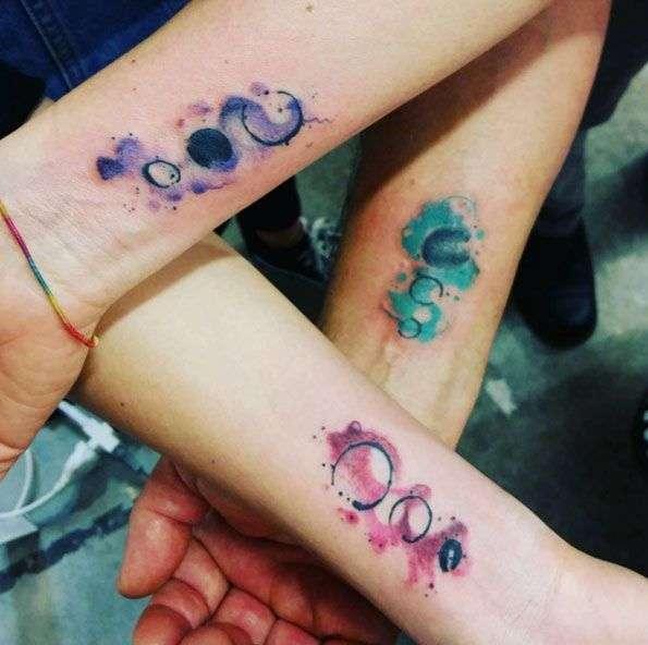 Tatuaje de mejores amigas - acuarela