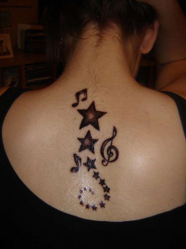 Tattoo of stars and musical notes