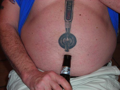 Funny tattoos: beer belly