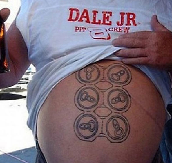 Funny tattoos: beer cans