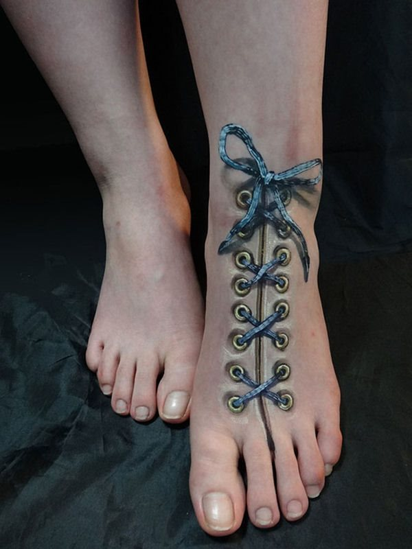 Funny tattoos: shoelaces on the foot