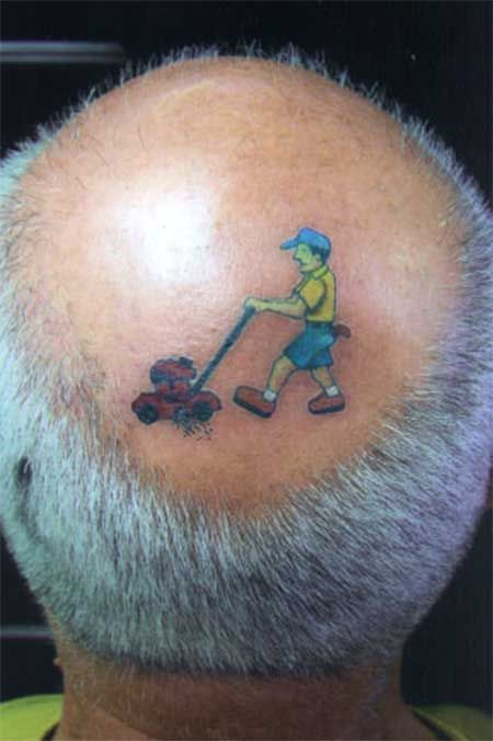 Funny tattoos: cutting the grass