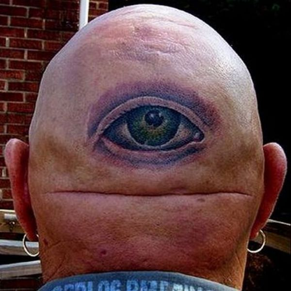 Funny tattoos: eye in the neck