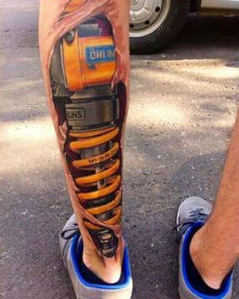 Funny tattoos: shock absorber
