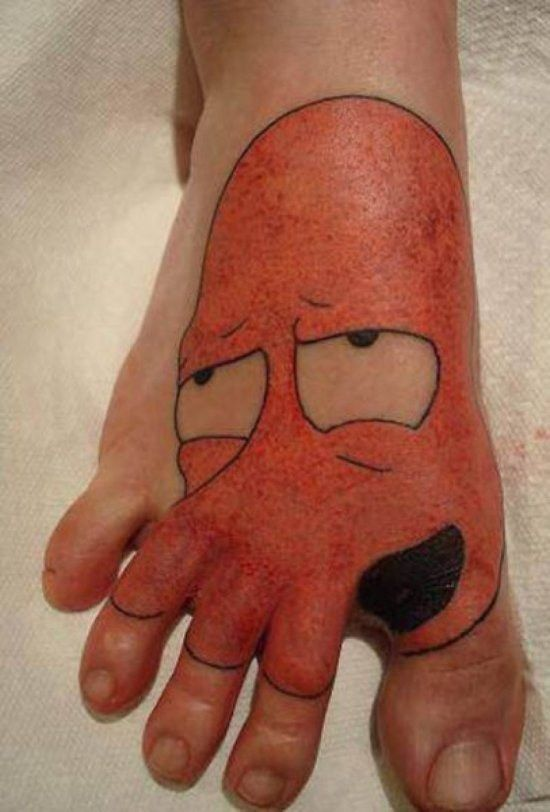 Funny tattoos on the foot