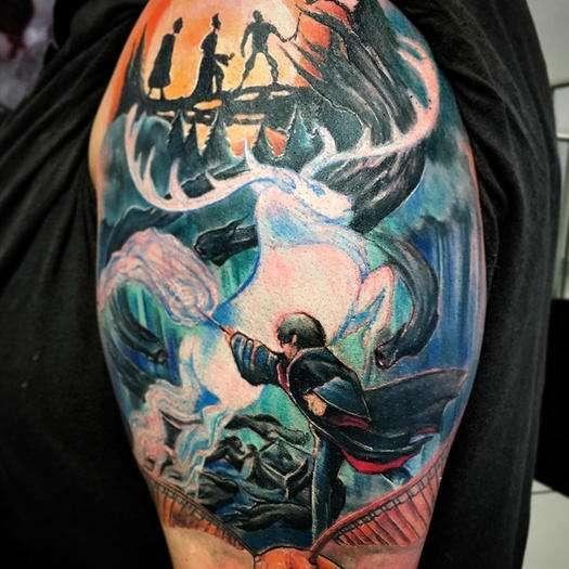 Tatuaje de Harry Potter en el brazo