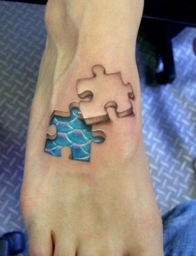 Funny tattoos: puzzle piece