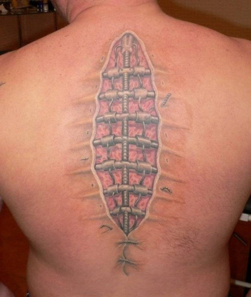 Funny tattoos on the back
