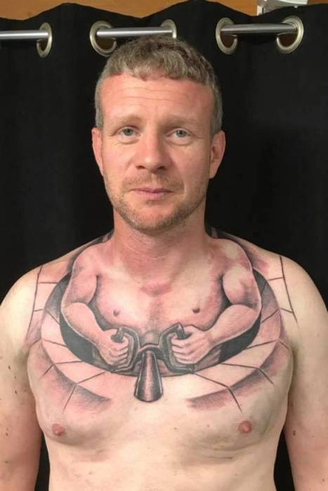 Funny tattoos on the chest