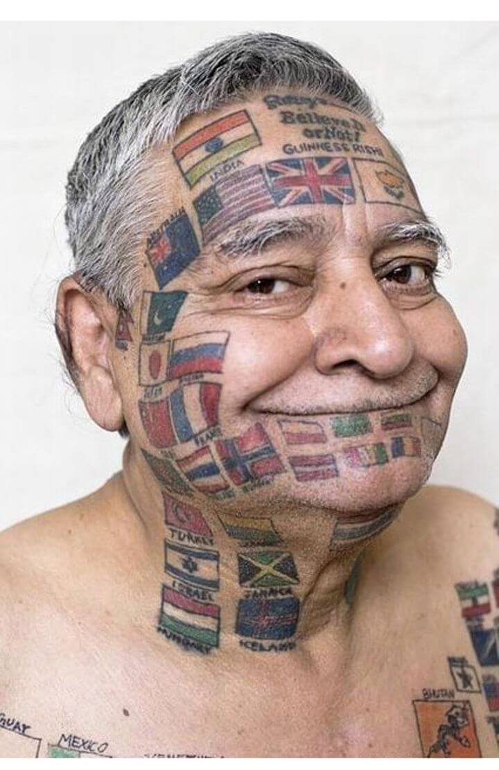 Funny tattoos: flags on the face