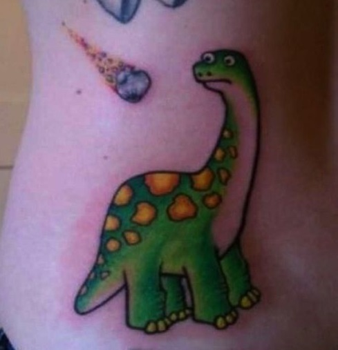 Funny tattoos: dinosaur and meteor