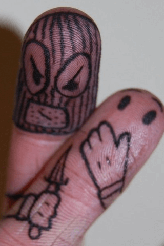 Funny tattoos on the fingers