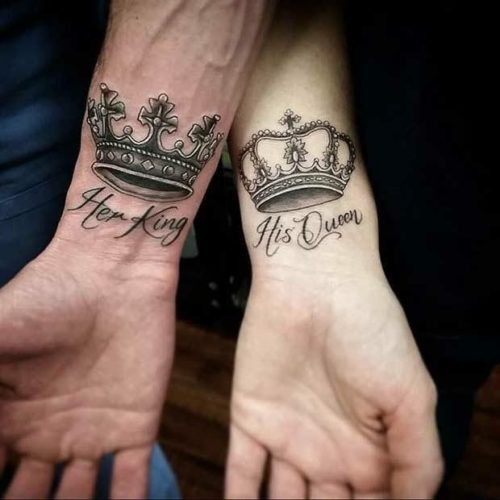 Tatuaje de coronas Her Queen His King