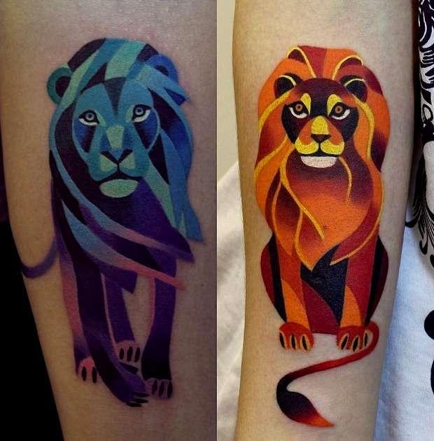 Tatuajes de leones en colores