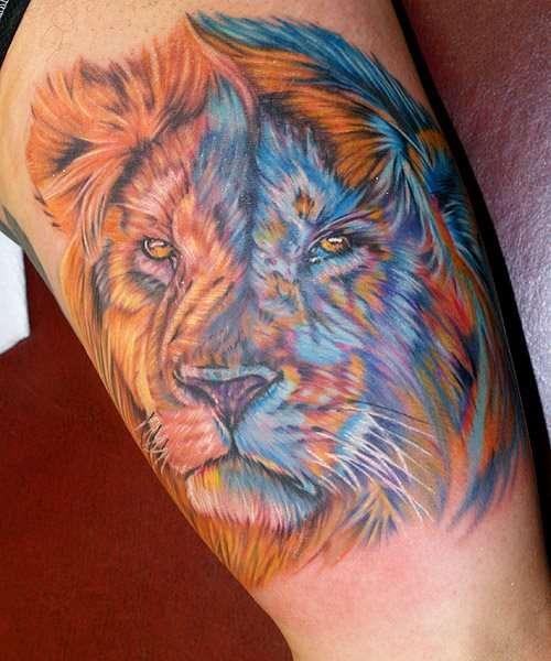 Tatuaje de león día y noche 2
