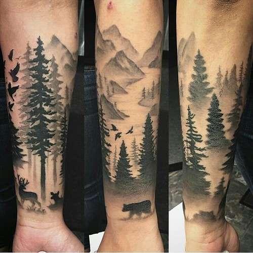 Tatuaje de bosque, oso y venado