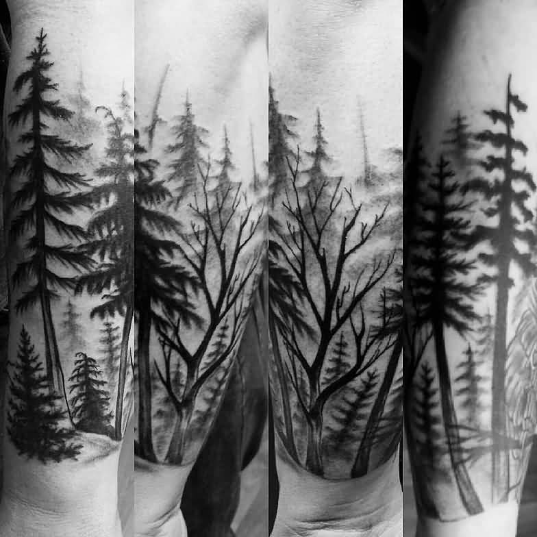 Tatuaje de bosque en color negro