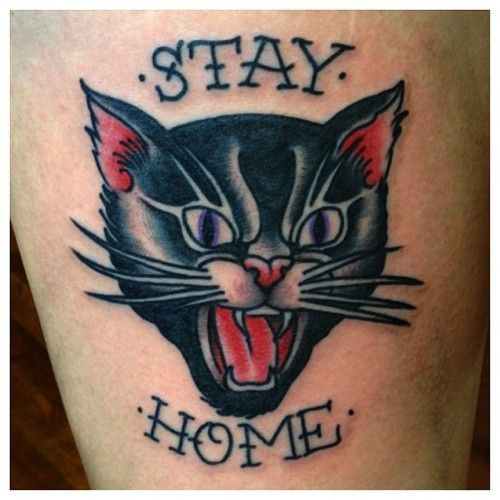 Tatuaje de gato Old School