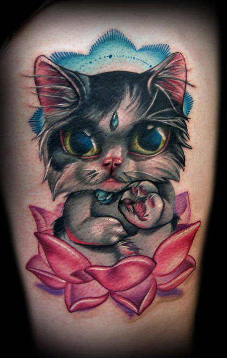 Tatuaje de gato New School