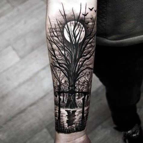 Tatuaje de bosque y la luna