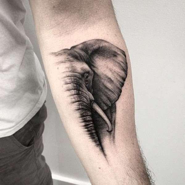 Tatuaje de medio elefante en el brazo