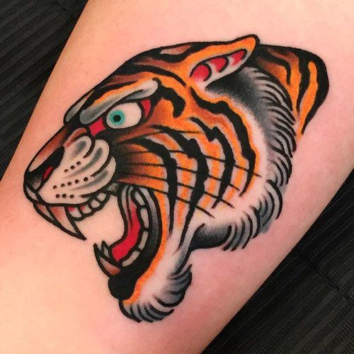 Tatuaje de tigre old school