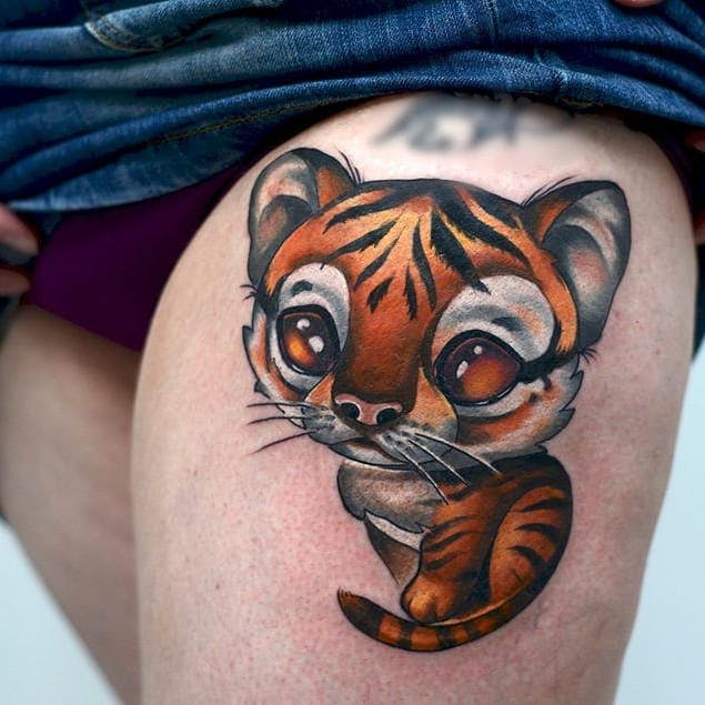 Tatuaje de tigre new school